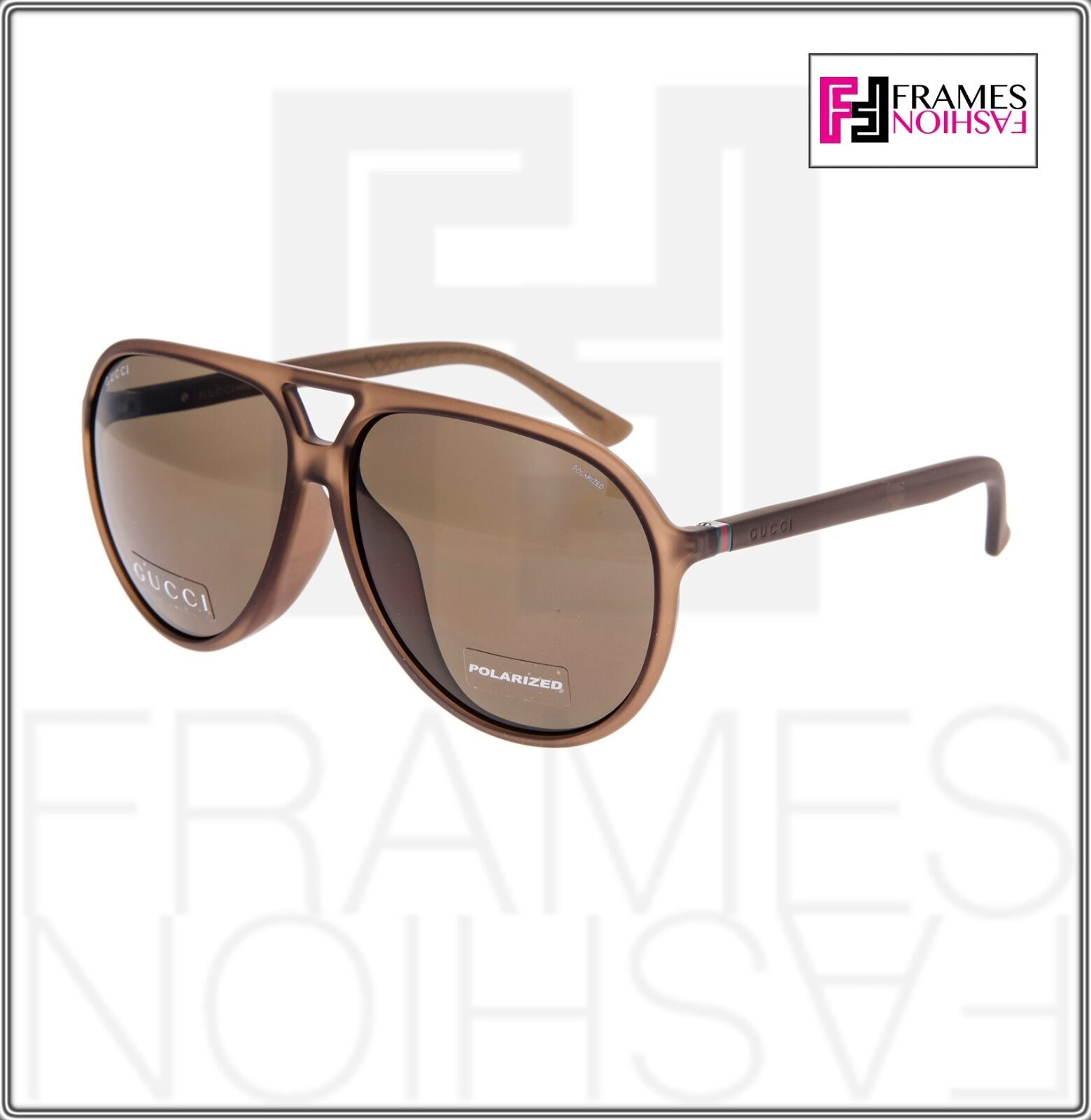 GUCCI GG1094S Aviator Brown Translucent POLARIZED Sunglasses Unisex 1094 1090