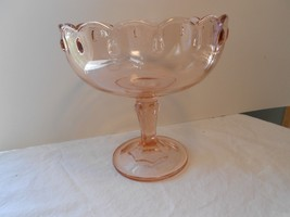 "Indiana Glass Teardrop Pink Round Compote Centerpiece 7 1/2"" Footed  - $16.99"