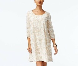 ECI Printed Embroidered Floral Shift Swing Dress, Ivory/Cream NWOT MEDIUM - $10.08