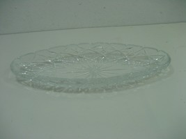 Block Oval Oblong Cut Diamond Crystal Cut Glass Serving Dish Bowl - $18.65