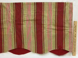 Curtain Valances Swag Drape Waverly 1 Piece Red & Tan Stripe Scalloped E... - $24.74