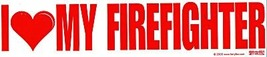 I LOVE MY FIREFIGHTER Large Vinyl Decal  with a large RED HEART- Fireman Decal image 1