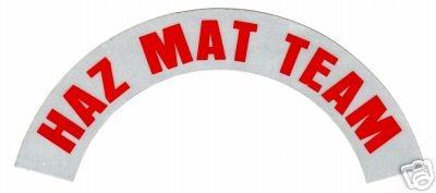 HAZ MAT TEAM REFLECTIVE FIRE HELMET CRESCENT DECALS - RED - A PAIR