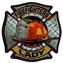 FIREFIGHTERS LADY Highly Reflective Full Color Diamond Plate Decal image 1