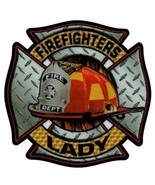 FIREFIGHTERS LADY Highly Reflective Full Color Diamond Plate Decal - $2.48
