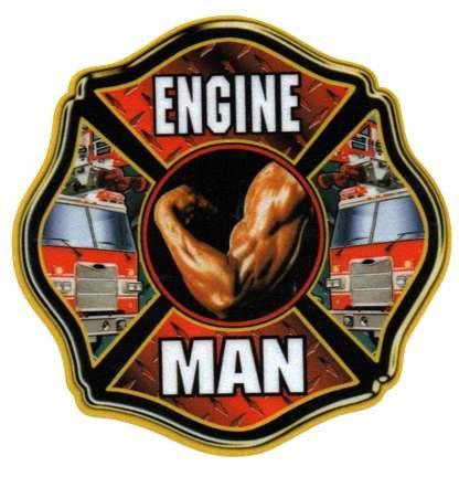 "ENGINE MAN  Full Color  REFLECTIVE FIREFIGHTER DECAL  - 4"" x 4"""