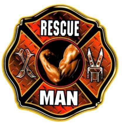 RESCUE MAN Full Color Highly Reflective FIREFIGHTER DECAL FD Rescue Decal