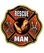 RESCUE MAN Full Color Highly Reflective FIREFIGHTER DECAL FD Rescue Decal - $1.49