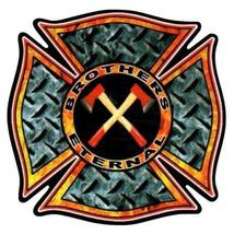 """BROTHERS ETERNAL Highly Reflective FIREFIGHTER DECAL - 2"""" x 2"""" image 1"""