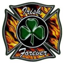 Irish Forever Firefighter Maltese Cross And Shamrock Highly Reflective Decal - $2.92