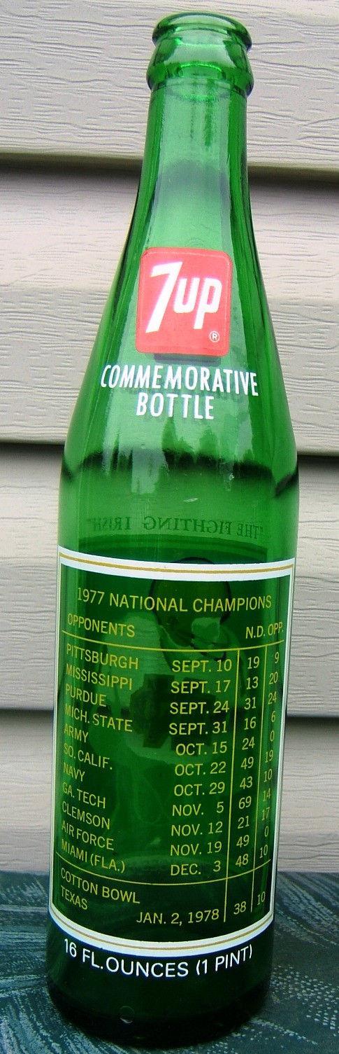 7 UP Notre Dame Fighting Irish National Champions Commemorative Bottle 1977