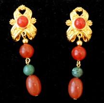 Avon Faux Carnelian Jade Earrings Nickel Free Gold Plate Dangle Stud VTG... - $29.65