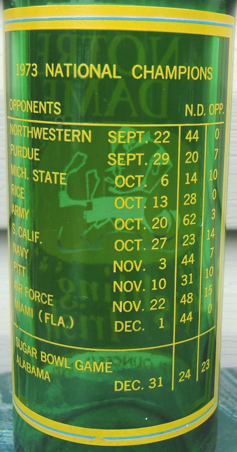 7 UP Notre Dame Fighting Irish National Champions Commemorative Bottle 1973