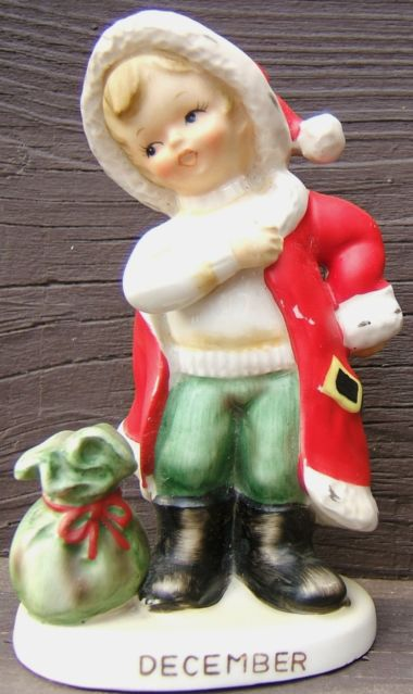 Vintage lefton december christmas santa boy ceramic