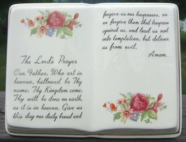 Vintage The Lords Prayer Ceramic Planter GOLD Trim 50s - ₨4,070.23 INR