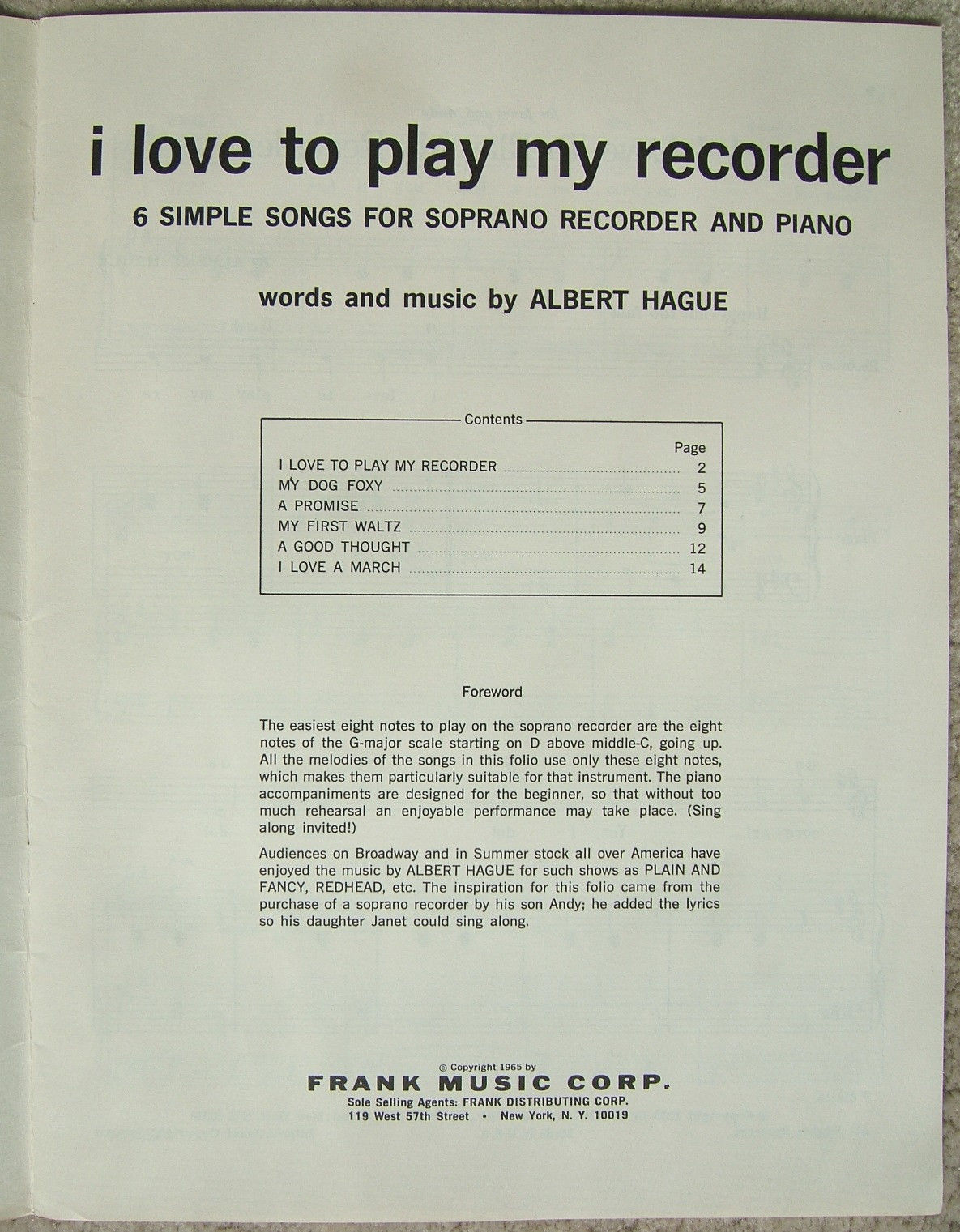 Vintage Soprano Recorder  I Love To Play My Recorder Music Book Booklet 1965 image 2
