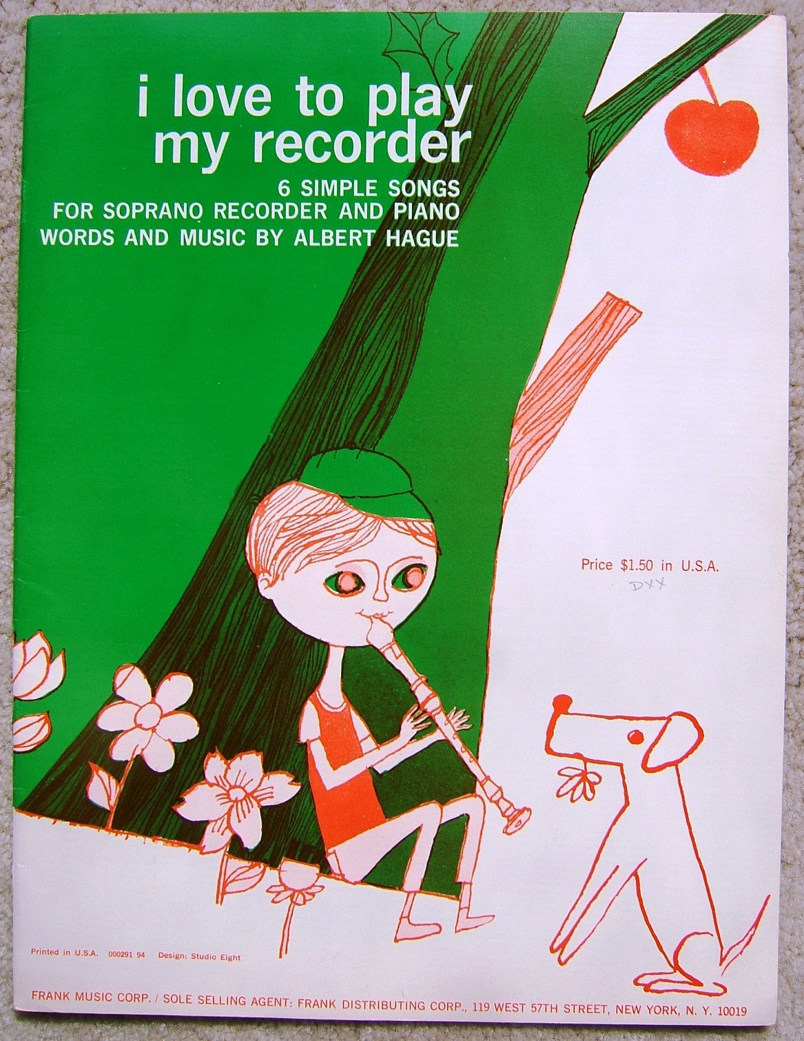 Vintage Soprano Recorder  I Love To Play My Recorder Music Book Booklet 1965