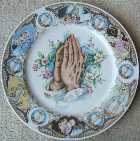 Vintage PRAYING HANDS Religious Porcelain Plate MADE IN JAPAN