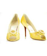 NEW Christian Louboutin Pompadouce Yellow Satin Peeptoe 11cm heels sz 40 - $424.71