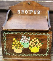 Vintage WOODEN RECIPES BOX Flip Up COVER Flower Design 1960s WALL or COU... - $79.99