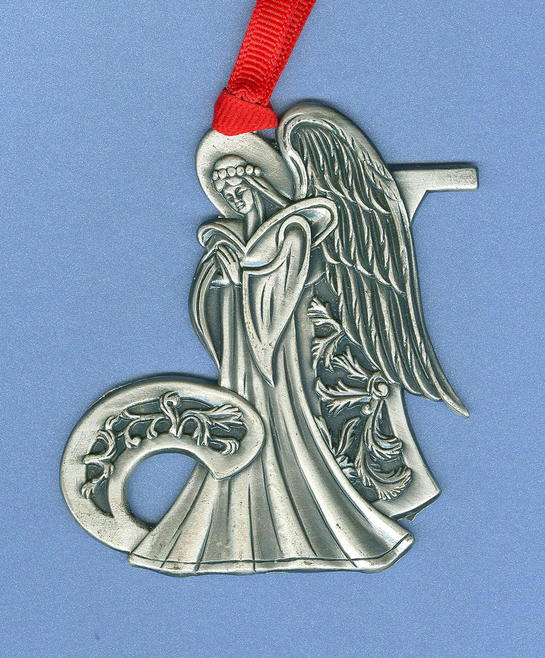 Pewter angel ornament christmas tree personalized