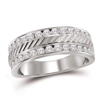 14k White Gold Mens Round Channel-set Diamond Double Row Wedding Band Ring - $1,499.00
