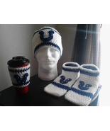 Men's Crochet Indianapolis Colts Beanie, Footies & Coffee Cup Sleeve - $30.00
