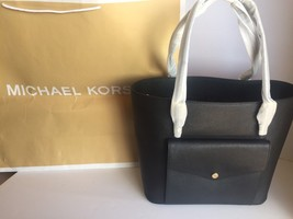 NWT MICHAEL KORS JET SET LARGE BLACK SNAP POCKET TOTE SHOULDER LEATHER H... - $139.97