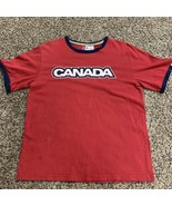 Canada Olympics T Shirt Hudson's Bay Red Ringer Tee Size L HBC - $7.84