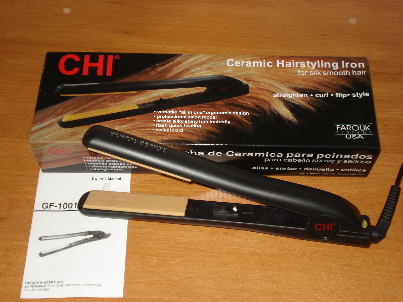 "Chi Straightener: NEW 1"" BLACK CHI CERAMIC HAIR STRAIGHTENER. IONIC FLAT"