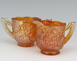 Antique Imperial Pansy Marigold Carnival Glass Cream and Open Sugar Set - $24.96