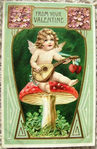Vintage EMBOSSED FROM YOUR VALENTINE CUPID POSTCARD Printed in GERMANY 1908