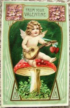 Vintage EMBOSSED FROM YOUR VALENTINE CUPID POSTCARD Printed in GERMANY 1908 image 1