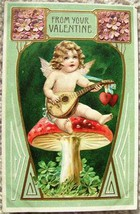 Vintage EMBOSSED FROM YOUR VALENTINE CUPID POSTCARD Printed in GERMANY 1908 image 2