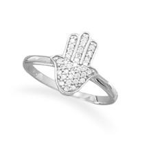 Sterling Silver Ring with CZ Hamsa Design - $38.99