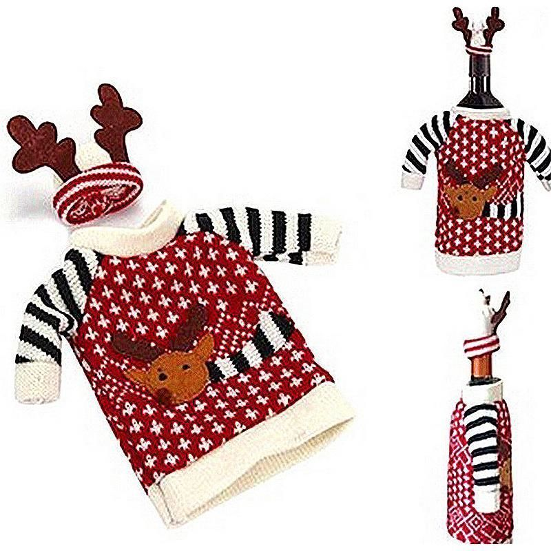 Primary image for Red Wine Bottle Covers Clothes With Hats For Home Christmas Dinner Party 1Set