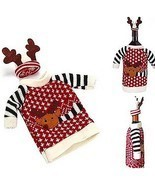 Red Wine Bottle Covers Clothes With Hats For Home Christmas Dinner Party... - $6.99