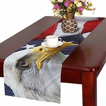 InterestPrint Waving American Flag with Bald Eagle Table Runner Linen & ... - $30.64 CAD
