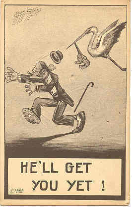 He Will Get You Yet artist Carmichael Vintage Post Card
