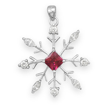 Sterling Silver Snowflake Pendant with Clear CZs and Red CZ Center - $38.99