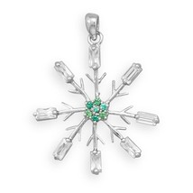Sterling Silver Snowflake Pendant with Clear CZs and Green CZs Center - $44.98
