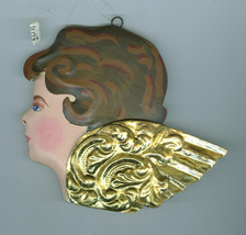 Painted  Metal Angel Cherub Head Christmas Ornament Dept 56 - $4.79