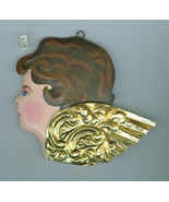Painted  Metal Angel Cherub Head Christmas Ornament Dept 56 - $5.99