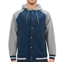 Men's Fleece Varsity Sweatshirt Letterman Sports Raglan Button Up Hoodie Jacket image 11