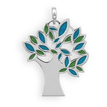 Sterling Silver Tree Pendant with Blue and Green Enamel Leaves - $38.99