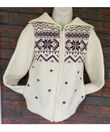 Pure Wool Sweater Small Old & New Full Zip Cardigan Nordic Design Collar... - $49.00