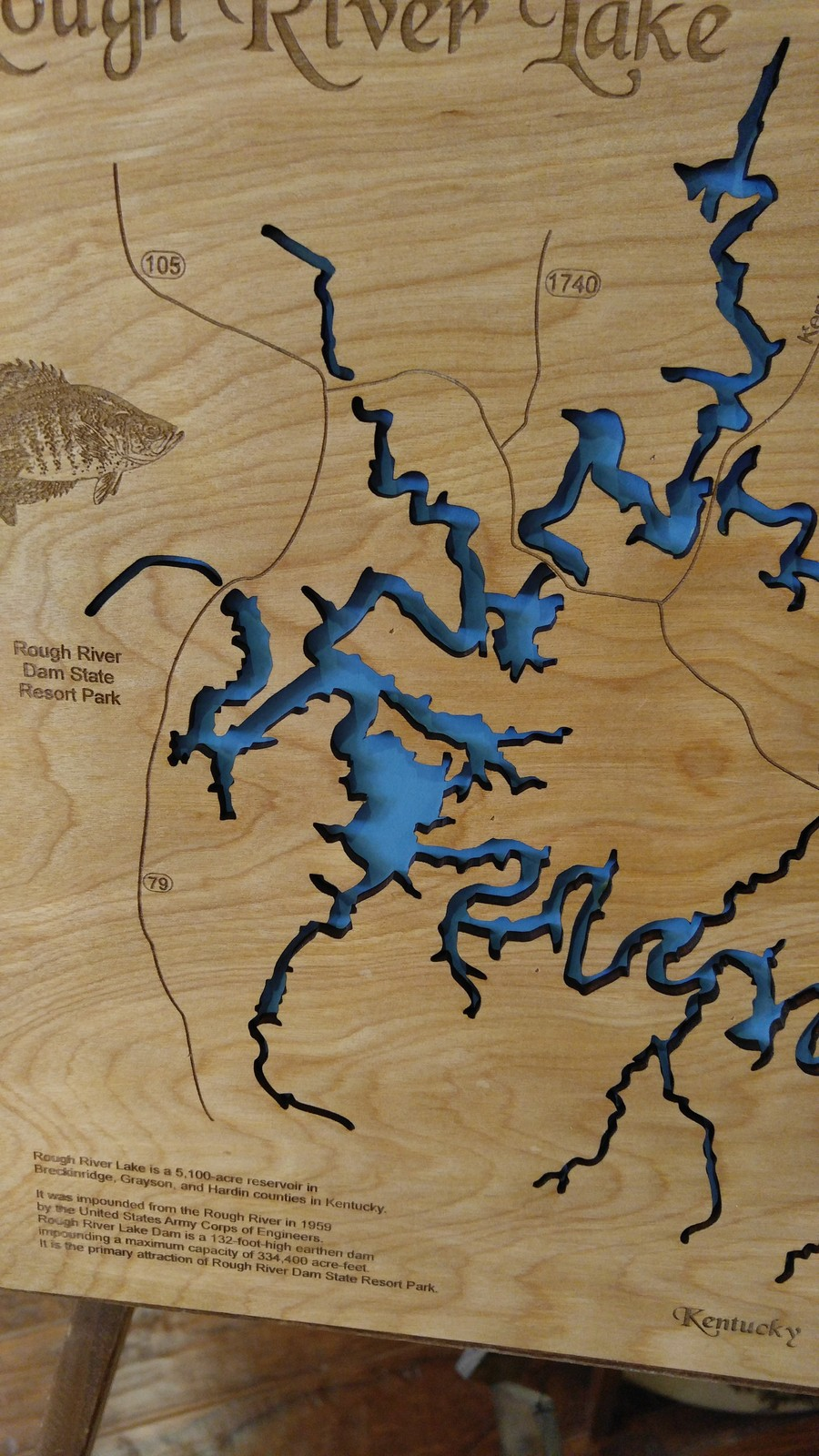 Home Decor Wood Laser Cut Map of Green River Lake KY Home