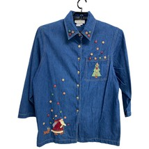 Casey coleman womens jeans blouse buttons Christmas theme size xl - $22.97