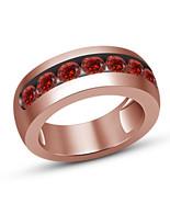 Rose Gold Finish Round Cut Red Garnet Mens Engagement Wedding Pinky Band... - $68.98