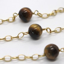 18K YELLOW GOLD NECKLACE OVAL ROLO CHAIN ALTERNATE WITH TIGER'S EYE BALLS 8 MM image 2